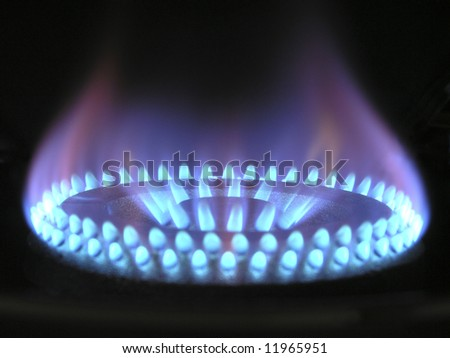 Gas flame ring - stock photo