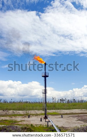 Gas flame torch. Oil refinery plant - stock photo