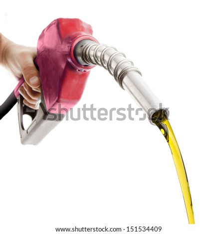 Gas flowing from a red nozzle on white background - stock photo