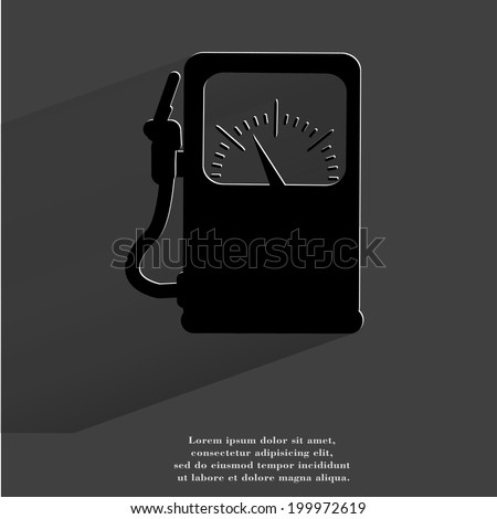 Gas, fuel station. Flat modern web button with long shadow and space for your text. . - stock photo
