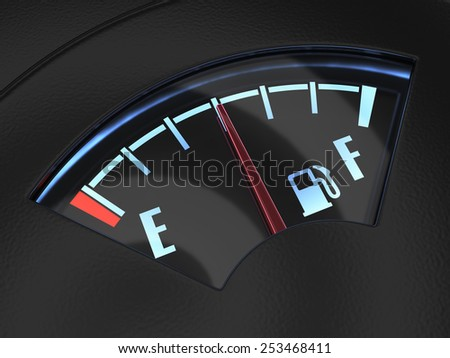 Gas gage with the needle indicating a middle fuel tank. Fuel concept - stock photo