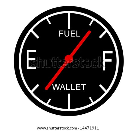 Gas gauge depicting gas rising and money falling