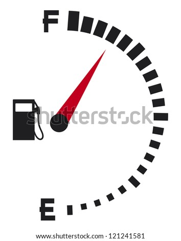 gas gauge (gas tank, gas gage, fuel gauge) - stock photo