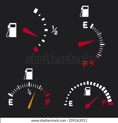 gas gauge (gas tank, gas gages, fuel gauge) - stock photo
