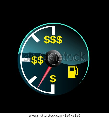 Gas gauge of a car with dollar symbols - stock photo