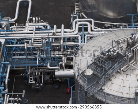 gas harbour in building on sky background - stock photo