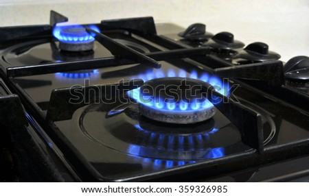 Gas hob burner rings on an oven.