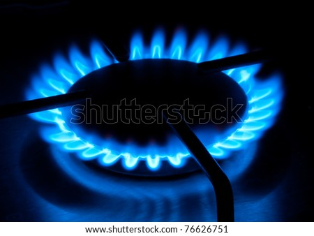 Gas hob flame close up - stock photo