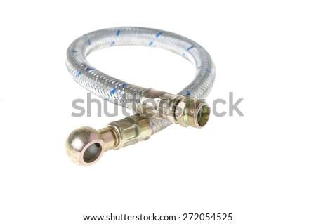 gas hose isolated on white - stock photo