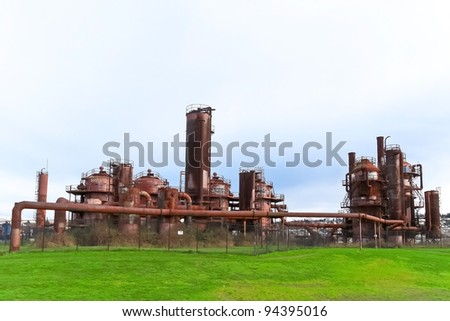 Gas industrial machineries at Gas works public park, Seattle, Washington - stock photo