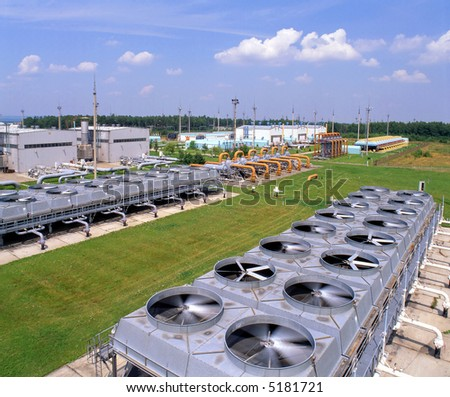 Gas industry, compressor stations, gas transmission system - stock photo