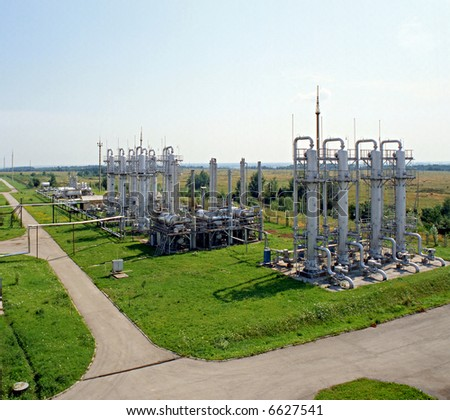 Gas industry, gas injection, storage and extraction from underground storage facilities. Natural gas transmission to customers. - stock photo