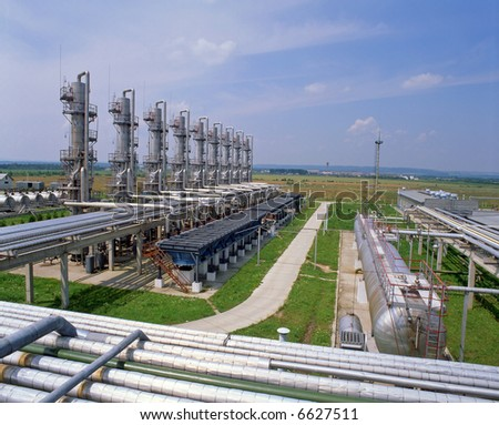 Gas industry, natural gas transmission to customers - stock photo