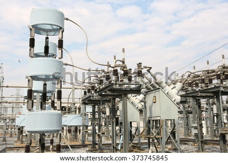 Gas insulated switchgear, shunt reactor and its outdoor electrical equipment  - stock photo