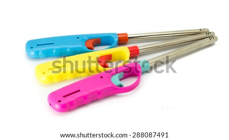 Gas lighter gun for gas-stove on a white background - stock photo