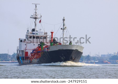 gas lpg container tanker ship running in river use for petrochemical gas energy in water transportation industry