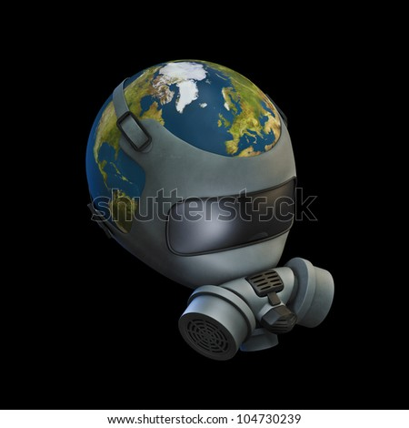 Gas mask Earth 3D render of planet Earth wearing gas mask. Earth map texture source: cinema4dtutorial.net - stock photo