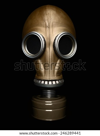 Gas mask isolated on black -Clipping path - stock photo