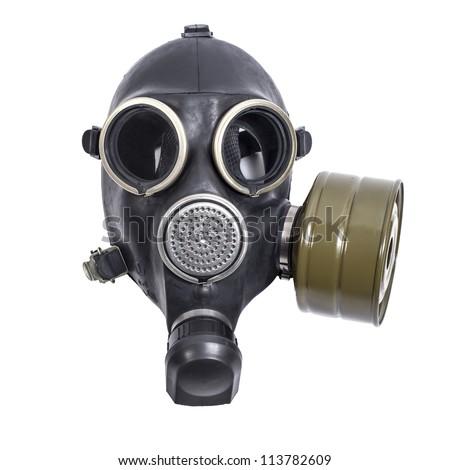 gas mask isolated on white background - stock photo