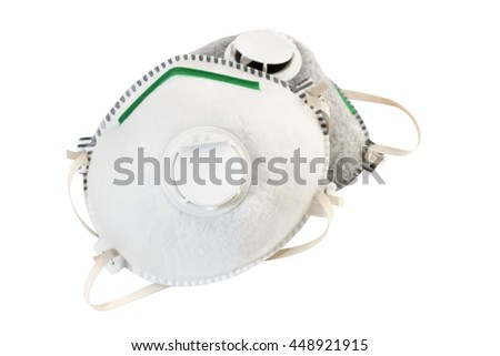 Gas mask on white background. Protection devices for industrial applications.