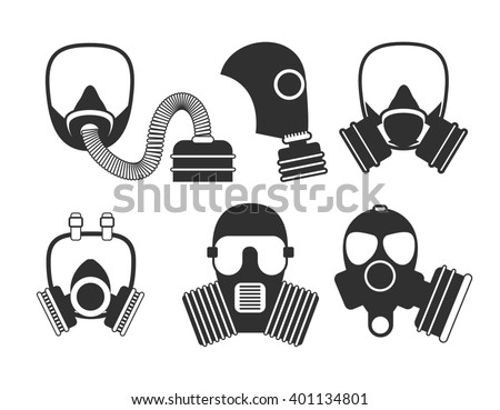 Gas mask set. Gas mask for firefighters and military. Respirator mask. Gasmask with filter. Different kinds of gas mask illustration. - stock photo