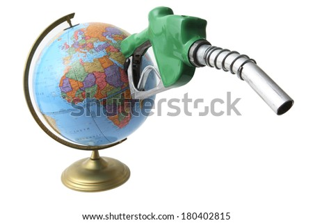 Gas nozzle coming out of globe  - stock photo