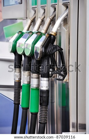 Gas nozzles close up - stock photo
