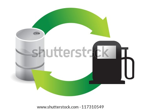 gas oil cycle illustration design over white - stock photo