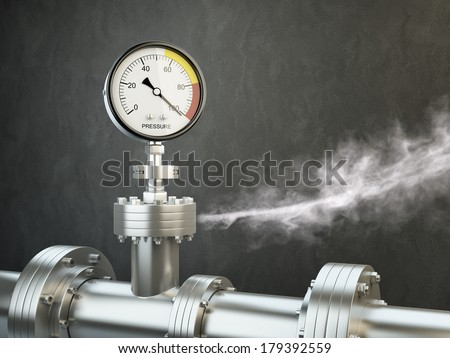 Gas or steam leaking from an industrial pressure gauge.  - stock photo