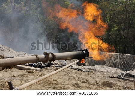 Gas pipe at the rig - stock photo