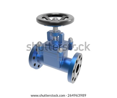 gas pipe with a red valve on white background High resolution 3D - stock photo