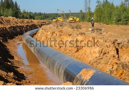 Gas pipeline building. - stock photo