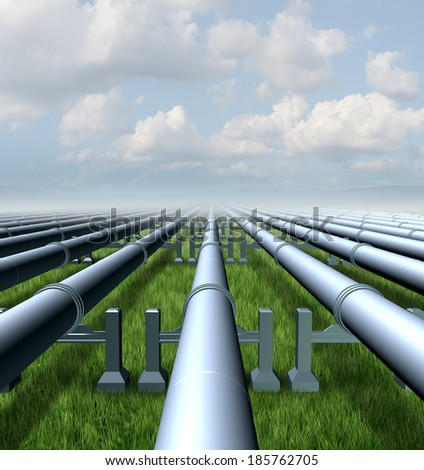 Gas pipeline concept as a group of metal pipes transporting liquids and fuel energy gases and petroleum oil products as a symbol of  distribution and transportation of power commodities. - stock photo