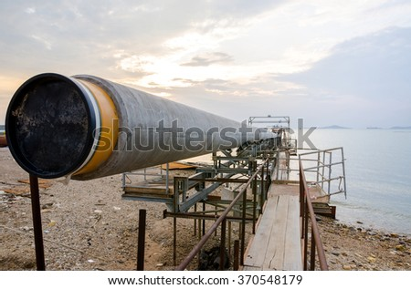 Gas pipeline construction in the sea - stock photo