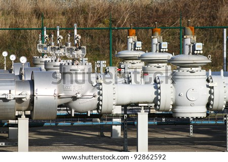 Gas pipes - stock photo