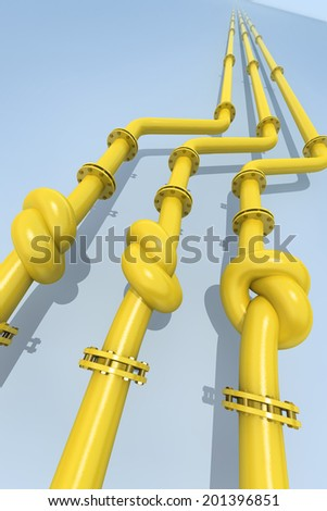 Gas pipes  tied in a knot. Concept of energy crisis. - stock photo