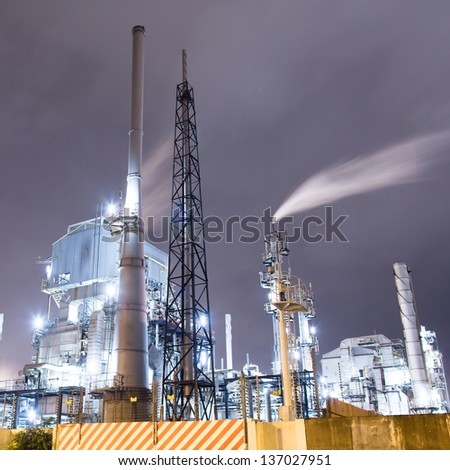 Gas Plant at night - stock photo