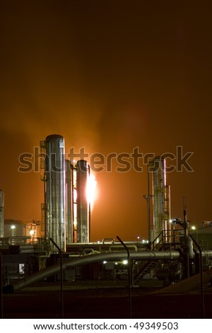 Gas plant at night