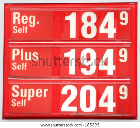 Gas price sign. - stock photo