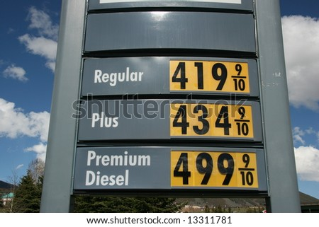 Gas Price Sky High - stock photo