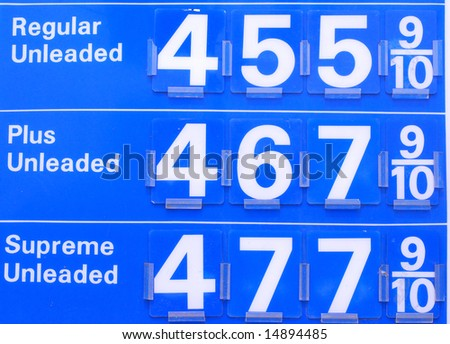 Gas prices sign reading prices pass $4.50 in the US - stock photo