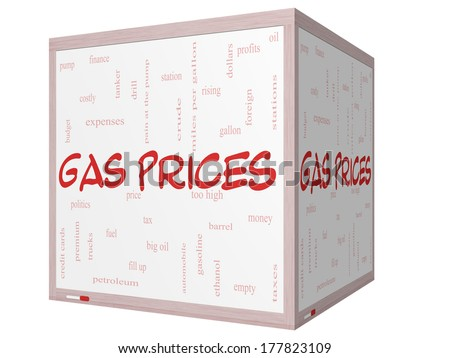 Gas Prices Word Cloud Concept on a 3D cube Whiteboard with great terms such as automobile, pump, costly, gallon, price and more. - stock photo