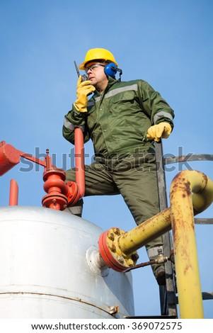 Gas Production Operator - stock photo