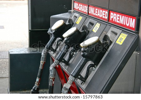 gas pump handles - stock photo