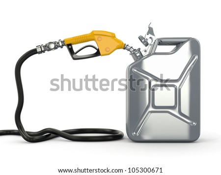 Gas pump nozzle and fuel can on white background. 3d