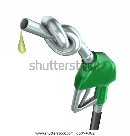 Gas pump nozzle with knot - stock photo