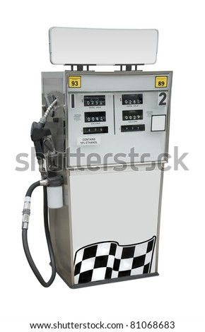 Gas pump with empty space for type, isolated with clipping path - stock photo