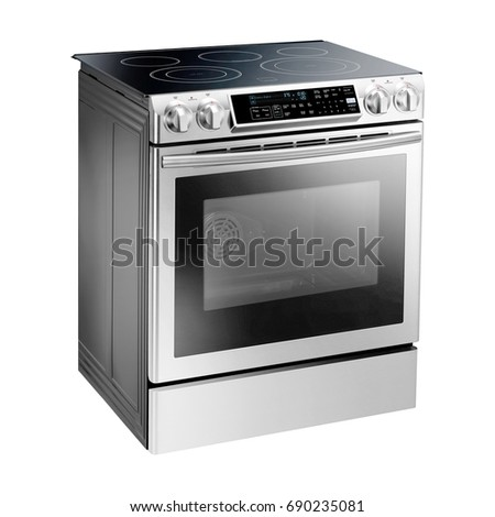gas range cooker with warming drawer isolated on white steam fuel range with convection oven