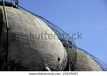 Gas Refinery, storage cistern outdoor in Spain - stock photo