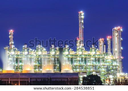 Gas separation plant at twilight dark blue sky - stock photo